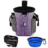 Fuming Borsa per il cibo per cani + ciotola pieghevole per bere con dispenser integrato e cintura regolabile, giocattolo per animali domestici facile da trasportare