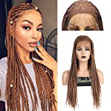 RDY 180% Density Brown Micro Braids Lace Front Wigs for Women with Baby Hair Box Braided Lace Wig Hand Tied Braiding Styles Synthetic African Replacement Hair 18 Inches