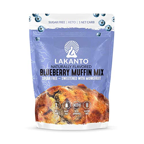 Lakanto Blueberry Muffin Mix, Healthy Keto Muffin Mix, Naturally Sweetened with Monkfruit, Sugar Free, Low Carb, Gluten Free (12 Servings)