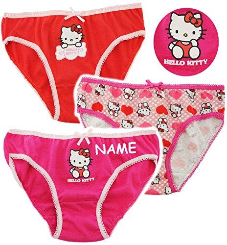 alles-meine.de GmbH alles-meine.de GmbH 3 TLG. Slip / Unterhosen - Katze - Hello Kitty - incl. Name -Größe 6 bis 8 Jahre - Gr. 122 bis 134 - 100 % Baumwolle - Mädchenslip / Unterwäsche - für Kin..