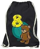 Hariz - Bolsa de deporte con diseño de oso 8 cumpleaños para niños, Negro (Negro) - AchterGeburtstag34-WM110-1-1