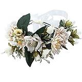 AWAYTR Blumen Stirnband Hochzeit Haarkranz Krone - Frauen Mädchen Blumenkranz Haare für Hochzeit Party(Grau + Beige)