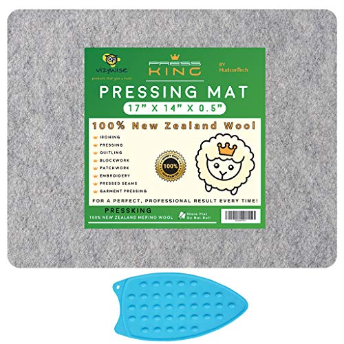 HudsonTech 17 x 14 Felted Wool Pressing Mat for Quilting, Pad is New Zealand Wool Mat for Sewing Notions and Ironing, Includes Silicone Iron Pad