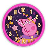 damaloo Reloj de pared infantil Peppa Pig – Reloj de pared infantil rosa para niñas – Reloj de habitación infantil con esfera para aprender – Reloj de pared