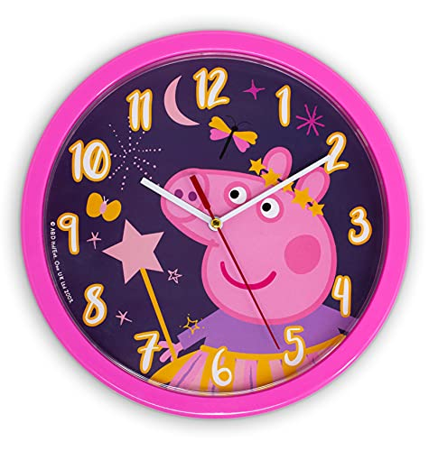 damaloo Peppa Wutz Kinderwanduhr - Peppa Pig Kinder Wanduhr Rosa für Mädchen - Uhr Kinderzimmer mit Ziffernblatt zum Lernen - Wall Clock