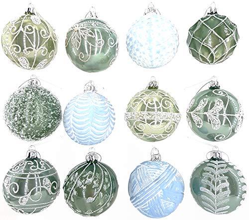 My-goodbuy24 Premium Weihnachtskugeln 12 teiliges Set Echtglas Glaskugeln Weihnachten Weihnachtsdeko Tannenbaumkugeln Glas Christbaumkugeln Weihnachtsbaum 6 cm (P6)