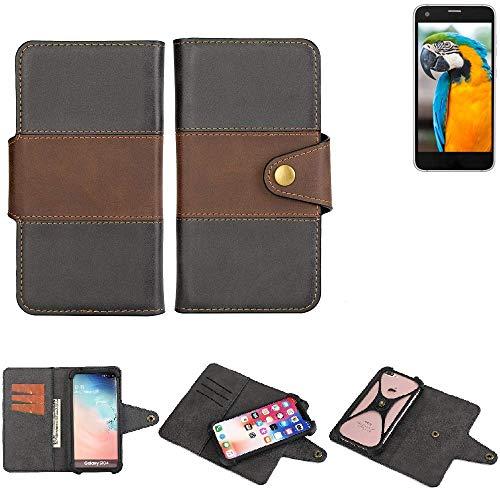 K-S-Trade® Handy-Hülle Schutz-Hülle Bookstyle Wallet-Case Für -Vestel V3 5040- Bumper R&umschutz Schwarz-braun 1x