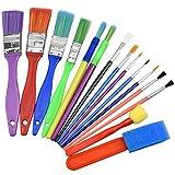 NATUCE 15PCS Colorful Artist Paint Brush Set, Childrens Kids Paint Brushes Starter Set for Watercolor, Oil,...