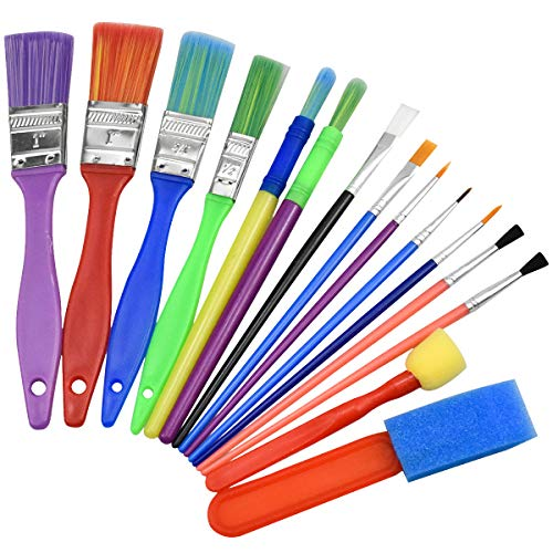 Pinceles para Pintar, Herramientas de Dibujo para Niños, Pinceles de Pintura para Niños, Niños Esponja Pintura Cepillos Kit, Cepillos de Pintura de Esponja para Arte Artesanía DIY