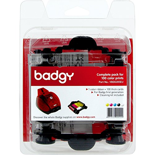 BADGY 1 YMCKO Rib Clean KIT 100 Cards 0.76MM for BADGY