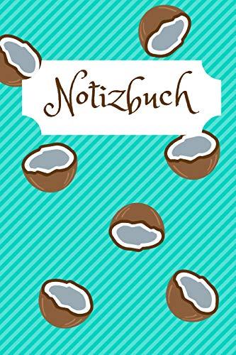 Notizbuch: Motiv: Kokosnuss für den Urlaub, die Arbeit oder den Alltag, 110 karierte Seiten, Format A5 (15cm x 23cm)