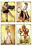 KUSTOM ART Juego de 4 cuadros estilo vintage serie Pin Up de colección impresión sobre madera...