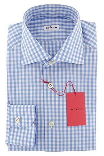 Kiton Blue Checkered Button Down Cotton Slim Fit Dress Shirt, Size Large 17