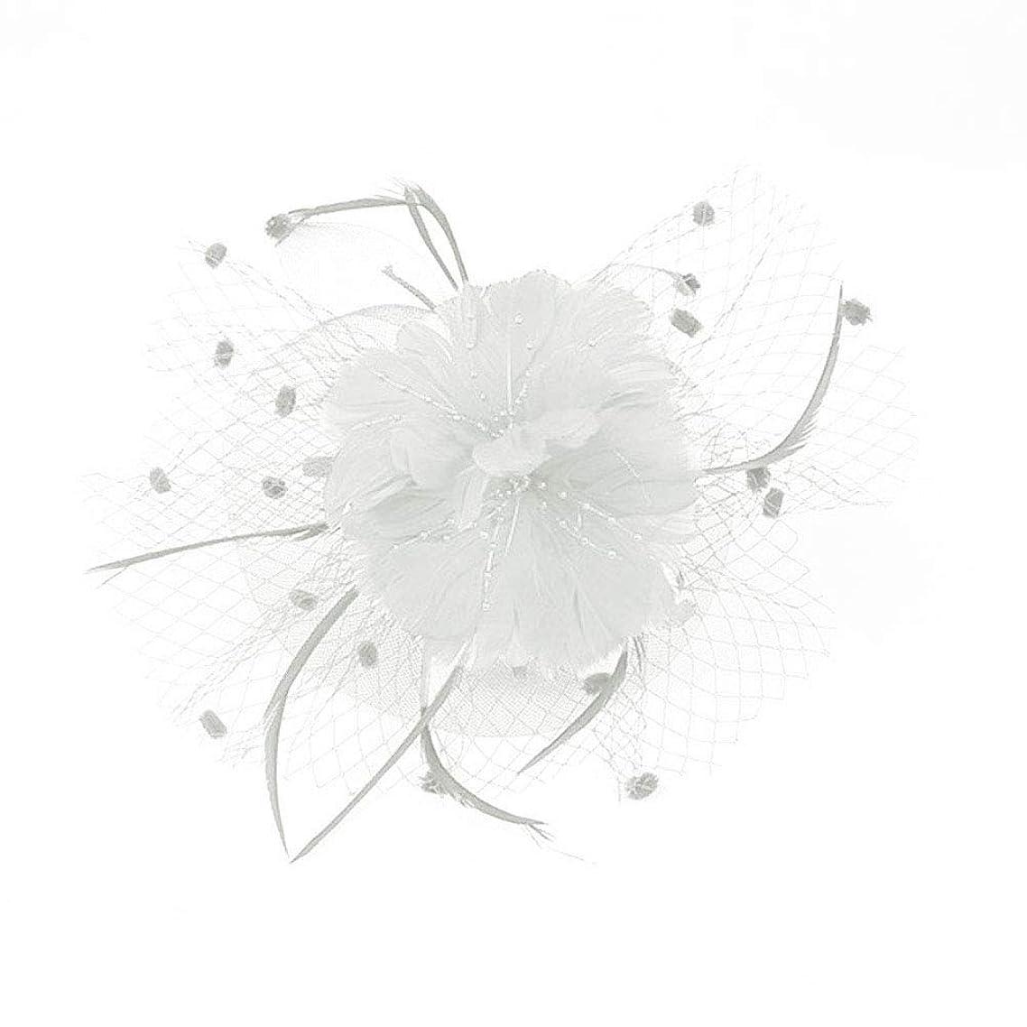 失敗荒野エレクトロニックBeaupretty魅惑的な帽子羽メッシュネットベールパーティー帽子ピルボックス帽子羽の魅惑的なキャップレディース結婚式宴会カクテルパーティー(ベージュ)