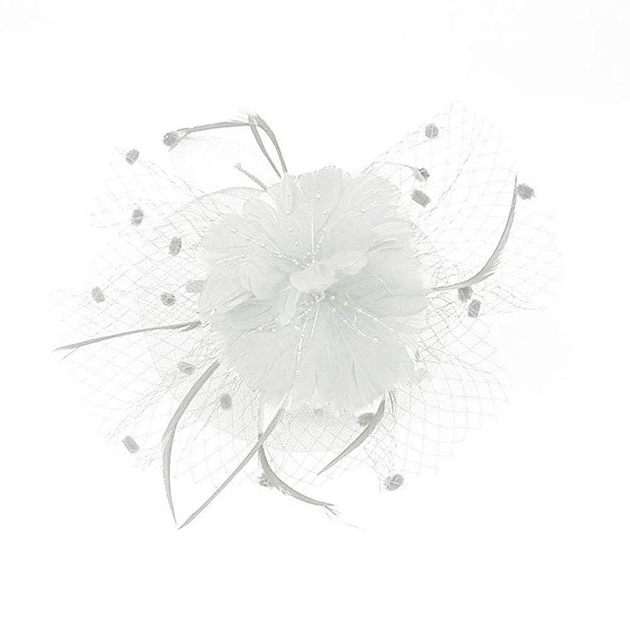 会うサワー食堂Beaupretty魅惑的な帽子羽メッシュネットベールパーティー帽子ピルボックス帽子羽の魅惑的なキャップレディース結婚式宴会カクテルパーティー(ベージュ)