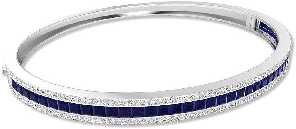 2.46 Ct IDCL Certified Sapphire Diffused Charm Bracelet, 0.79 Ct Moissanite Gold Bangle Bracelet, Princess Cut Gemstone DEF-VS1 Color Clarity Bracelet 18K