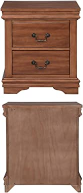 DEPOINTER 2 Drawers Nightstand, Wood Bedside Storage Cabinet, Accent End Side Table Chest, Traditional Design Perfect for Home Furniture, Bedroom Accessories