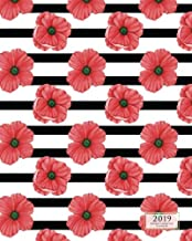 2019 Weekly Monthly Planner Red & Black Poppy: 12 Month Floral Desktop Diary with Vertical Calendar Days & Appointment Agenda