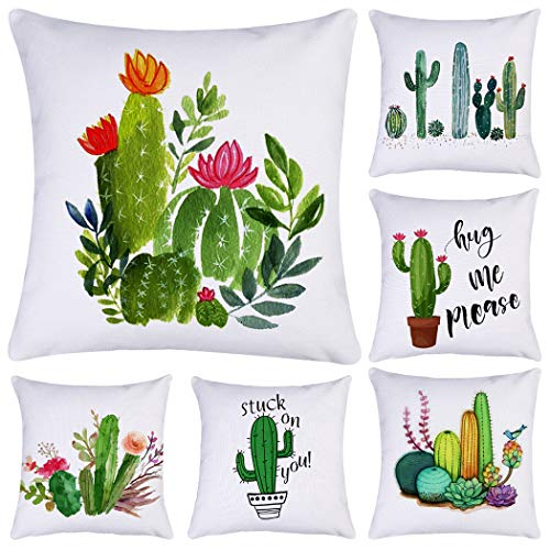 Polyester Throw Pillow Case Cushion Cover Home Sofa Decorative(Cover Only,No Insert) (18x18 inch/ 45x45cm,6 Pack Cactus)