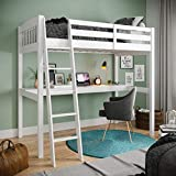 High Loft Wood Bed with Desk, Yes4Wood Everest, 100% Pinewood, No Box Spring Needed. (White, Twin)