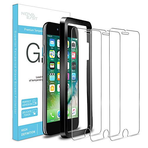 Novaeast Screen Protector for iPhone 8, iPhone 7, iPhone 6s, iPhone 6 Tempered Glass Screen Protector 4.7-Inch with Easy Install Frame, 3-Pack