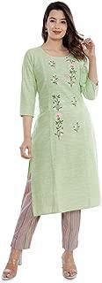 Sanganeri Kurti Womens Cotton Embroidred Kurta With Printed Pant Set (Green)