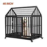 Esright Heavy Duty Dog Crate Strong Metal Kennel, 46 inches for Large Dogs, 4 Wheels Pet Playpen Indoor & Outdoor, Removable Tray & Lock