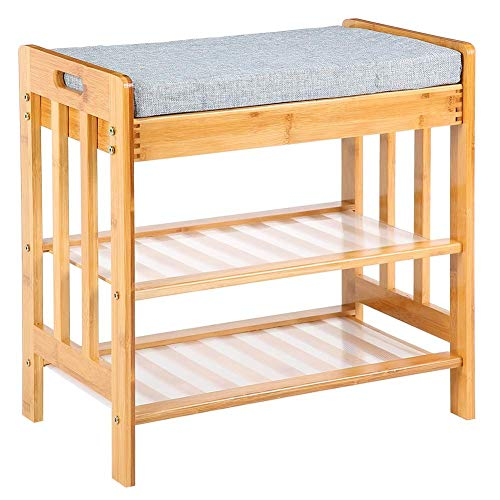 SHBV Zapatero de bambú para Zapatos con cojín y 2 estantes hasta 200 kg 50 x 49 x 30 cm
