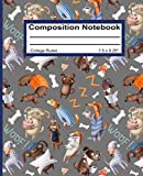 Composition Notebook: College Ruled Blank Writing Notebook Diary Journal Back to School Supplies Pad for Girls Boys Kids Students Teachers Teens Cute Dogs in Pyjamas Pattern