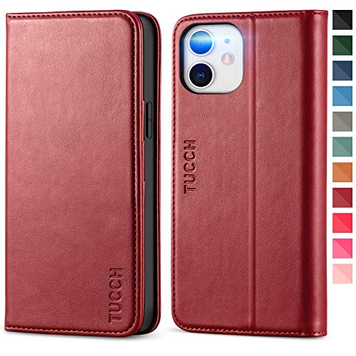 TUCCH Case Wallet for iPhone 12 Pro/iPhone 12 5G, Card Holder Slots Folio PU Leather Cover, Kickstand Flip Case with [TPU Shockproof Interior Case] Compatible with iPhone 12 Pro/6.1-inch, Dark Red