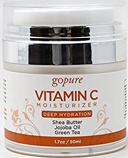 goPure Face Moisturizer with Vitamin C - Anti Aging Daily Facial Cream for Hydration, Wrinkles, Soft Skin - 1.7oz