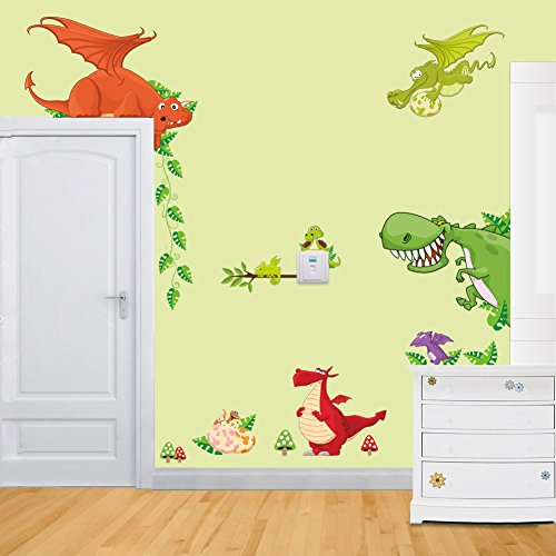 niedlichen Drachen Familie Cartoon-Dinosaurier, Kinderzimmer Wandaufkleber Wandtattoo