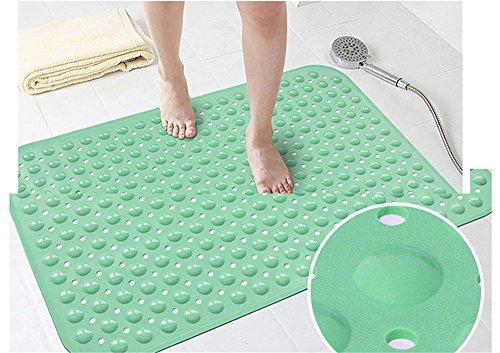 Ommda Badewanneneinlage mit Saugnäpfen Duschvorleger rutschfeste Duschmatte Naturkautschuk 0.7cm Grün 48x78cm