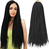 7 Packs 18 Inch Box Braids Crochet Braids 3X Box Braid Crochet Hair Extension 20 Strands/Pack (18'7Packs,1B#)