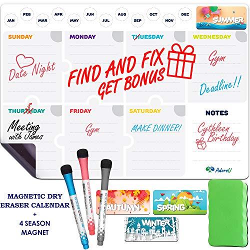 "Magnetic Dry Erase Calendar for Fridge Weekly 17 x 12"" - Magnetic Calendar for Refrigerator - Whiteboard Calendar with 4 Magnets and 3 Markers - Whiteboard Calendar for Refrigerator"