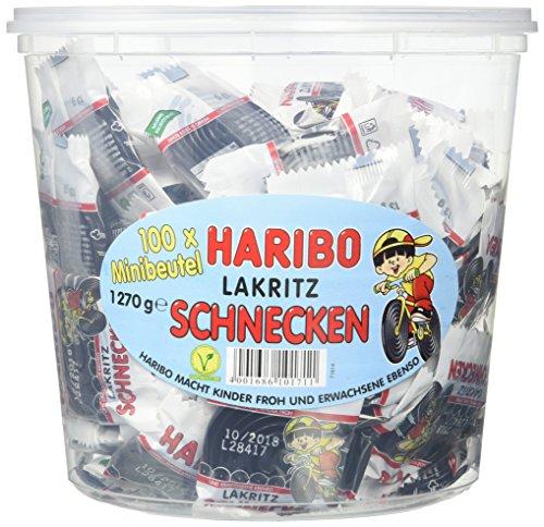Haribo Lakritz Schnecken 100 Minibeutel, 1er Pack (1 x 1.27 kg)