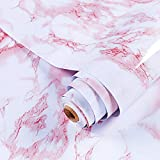 GLOBALDREAM Papel Adhesivo Marmol, 40cm x 10m Papel Marmol Rosado Pegatina Muebles de Cocina Vinilo Decoracion Papel Marmol Papel para la Cocina Encimera Oficina de Baño