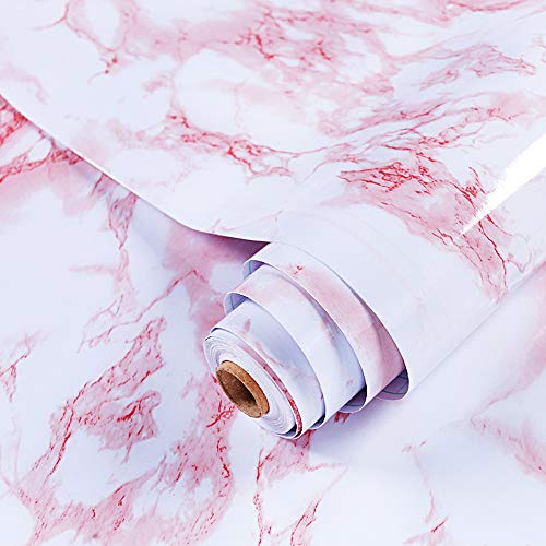GLOBALDREAM Mamor Klebe Folie, 40cm x 10m Rosa Marmor Folie Selbstklebende Klebefolie Möbelfolie PVC Tapeten Marmorfolie für die Küchentheke, Wandaufkleber