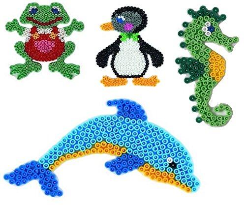 Hama Midi Stiftplatten Set 24 - Wassertiere Set - Seepferd,Pinguin,Delphin,Frosch + 100 Gratis Perlen