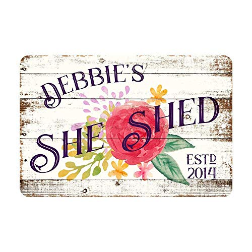 WAHAH She Shed Tin Sign Metal Novelty Retro 20x30cm Decorative Sign - Bar Office Home Bedroom Dining Room Kitchen Cool Classic Chic Present