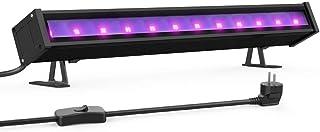 Onforu 24W Luz LED UV Lámpara de Luz Negra, 48 LEDs Barra Ultravioleta Iluminación de Escenario con Interruptor, Cable de Alimentación de 1.5M para Bar Discoteca DJ Disco Halloween Navidad Fiesta