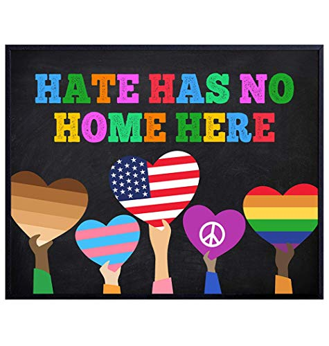 Hate Has No Home Here Flag Sign - Black Lives Matter, LGBTQ, African American, Civil Rights Wall Art Poster, Home Decor, Room Decoration - Gift for Queer, Gay, Bi, Lesbian, Latino, Liberal Democrats