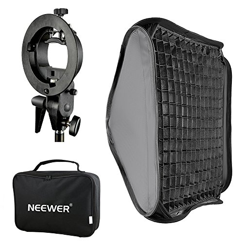 Neewer 24x24 inches Bowens Mount Softbox with Grid and S-Type Flash Bracket for Nikon SB-600, SB-800, SB-900, SB-910, Canon 380EX, 430EX II,550EX,580EX II,600EX-RT, Neewer TT560 Flash Speedlite