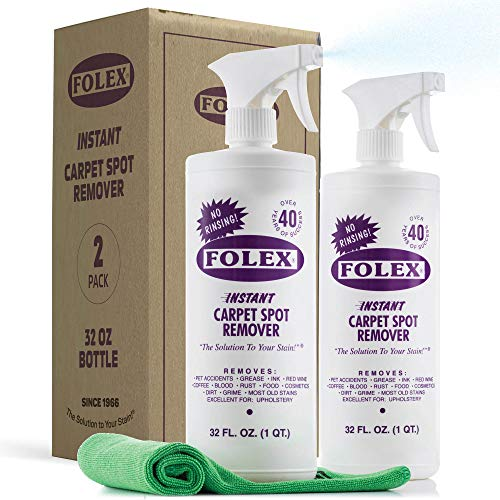 Folex Instant Carpet Stain Remover 32 Oz. [Set of 2] Carpet And Upholstery Cleaner, For Grease/Wine/Coffee/Cosmetics - Pet Stain Remover - Car Carpet Cleaner - Laundry Stain Remover. + [SEWANTA Cloth]