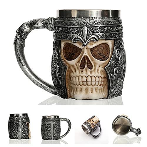 XIAN Taza con Forma de Calavera de Acero Inoxidable Taza de Calavera de 400 ml Jarra gótica Taza de Bebida de Agua de té de café