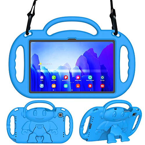 Surom Kids Case for Samsung Galaxy Tab A7 10.4' 2020 (Model SM-T500/T505/T507), Light Weight Shock Proof Kids Friendly Handle Stand with Shoulder Strap for Tab A7 10.4 Inch 2020, Blue