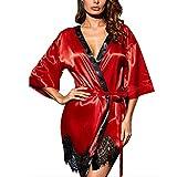 SEDEX Ropa Interior Mujer Conjuntos Lenceria Camisones Encaje Albornoces Vestido Batas Dormir Frente Abierto Escote en V Profundo Elegante Kimono Pijama, Rojo M.