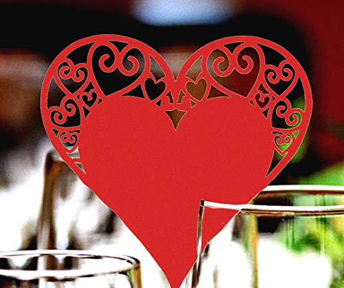 Alician 50pcs Hollowed Love Heart Table Name Place Cup Card Paper Laser Cut Wedding Baby Shower Party Decorations Pearl red Home Decoration