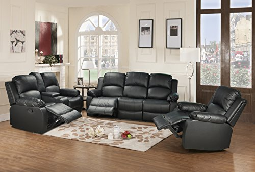 Beverly Fine Funiture Bonded Leather Drop Down Table, 5, 1 Black, 3 Piece Recliner Set, Sofa, Loveseat and Chair