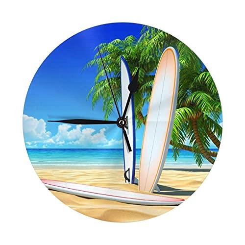 Reloj de pared redondo, tabla de surf de playa soleada, reloj de escritorio, reloj decorativo para casa, escuela, oficina